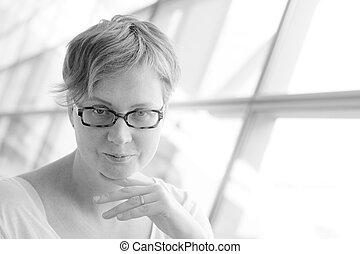 porträt, von, schöne , 35, jahre alt, frau