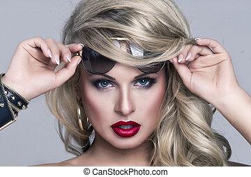 porträt, von, schöne , blond, frau