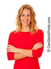 porträt, von, schöne , brünett, junge frau, in, rotes kleid, freigestellt, aus, weißer hintergrund