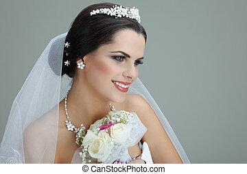 porträt, von, schöne , bride., wedding, dress., wedding, dekoration