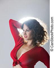 porträt, von, schöne frau, in, rotes , sexy oberteil