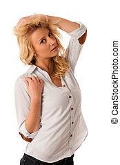 porträt, von, schöne , junger, blond, frau, freigestellt, aus, weiß ba