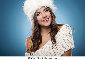 porträt, von, schöne , lächeln, winter, frau