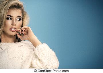 porträt, von, schöne , sinnlich, blond, frau
