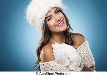 porträt, von, schöne , und, lächeln, winter, frau