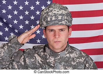 porträt, von, solider, salutieren