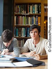 porträt, von, studenten, arbeiten, ein, aufsatz