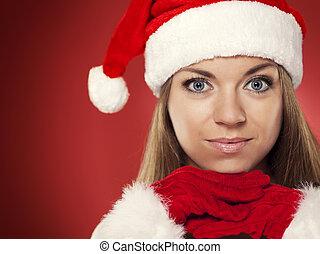 porträt, von, weihnachten, frau