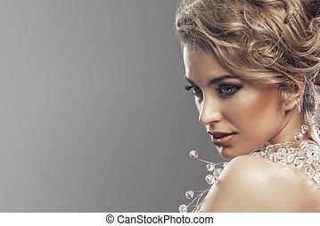 porträt, von, wunderbar, junger, blond, frau