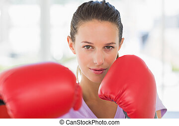 porträt, weibliche , closeup, boxer, entschlossen