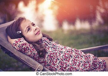 porträt, wenig, entspanntes, closeup, m�dchen