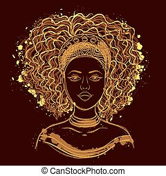 porträt, woman., afrikanisch