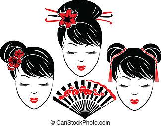porträts, mädels, asiatisch, drei