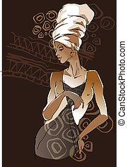 porträtten, kvinna, afrikansk