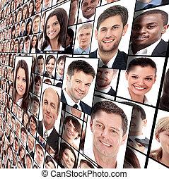 porträtten, många, isolerat, folk
