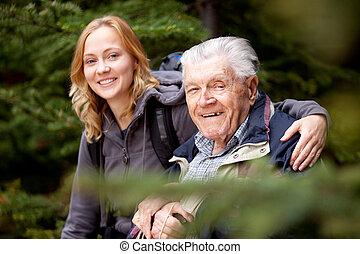 portræt, bedstefaderen, granddaughter