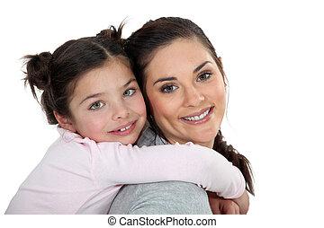 portræt, datter, mor
