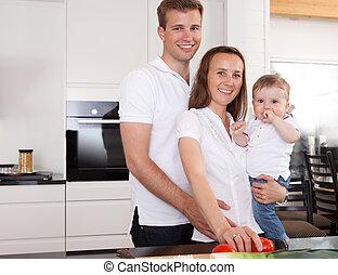 portræt familie, hjem hos