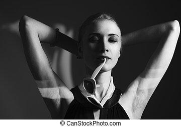portræt, farvet, unge, baggrund, skud., studio, woman., mode, herskabelig