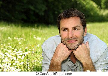 portræt, græs, mand