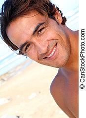 portræt, guy, strand, pæn
