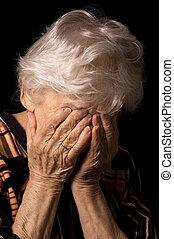 portræt, i, den, gammel kvinde, en, sort baggrund