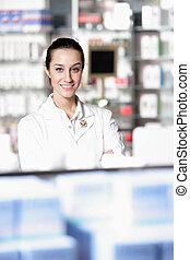 portræt, i, en, kvindelig, apoteker, hos, apotek