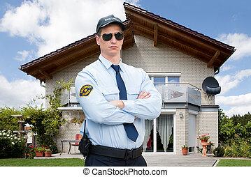 portræt, i, en, mandlig, security bevogt