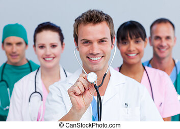 portræt, i, en, muntre, medicinsk hold
