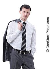 portræt, i, en, pæn, branche mand, isoleret, på, white.
