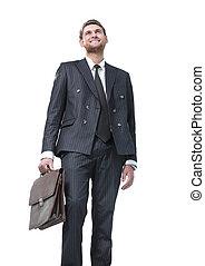 portræt, i, en, succesrige, sagfører, isoleret, på hvide, baggrund