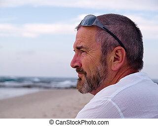 portræt, i, en, tænkning, senior mand
