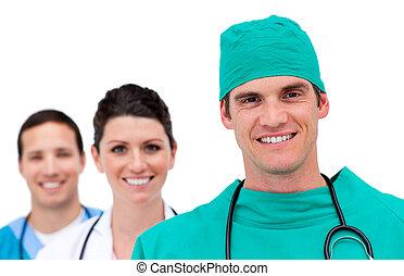 portræt, i, en, talentfulde, medicinsk hold