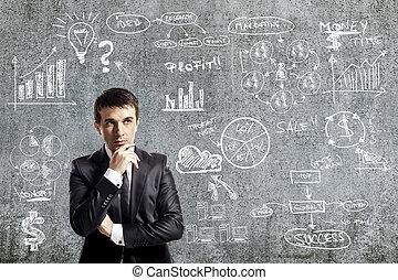 portræt, i, forretningsmand, ind, tøjsæt, og, branche planlæg, på, grunge, mur