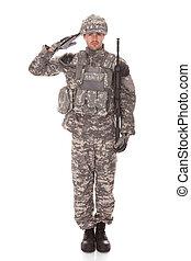 portræt, i, mand, ind, militær ensartet, saluting