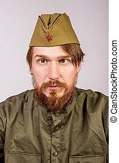 portræt, i, mand, ind, sovjet militær, jævn