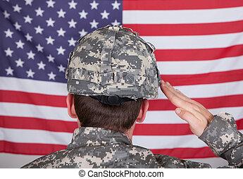 portræt, i, solider, saluting