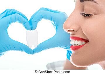 portræt, i, tandlæge, hos, tand, på hvide, baggrund