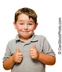 portræt, i, tillidsfuld, barn, viser, tommelfingre oppe,...