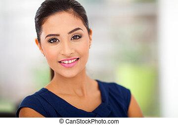 portræt, i, ung kvinde, ind, kontor