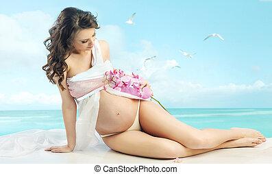 portræt, kvinde, brunette, gravide