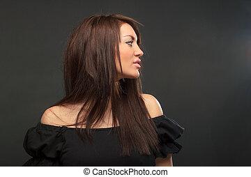 portræt, kvinde, unge, smukke