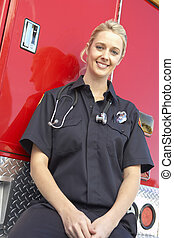 portræt, kvindelig, paramedic
