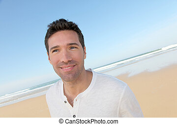 portræt, pæn, strand, mand