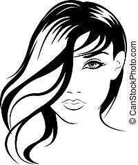 portræt, pige, vektor, skønhed, zeseed