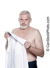 portræt, senior mand, klæde