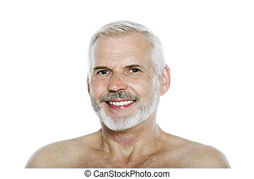 portræt, senior mand, smile glade