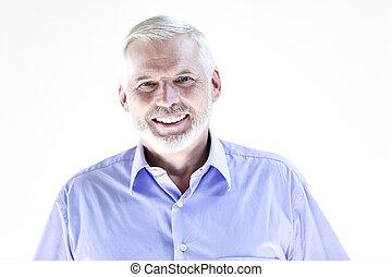 portræt, senior, smile mand