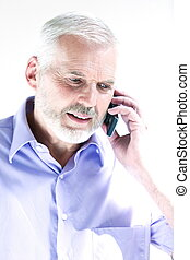 portræt, senior, telefoner., mand