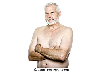 portræt, senior, topløs, mand